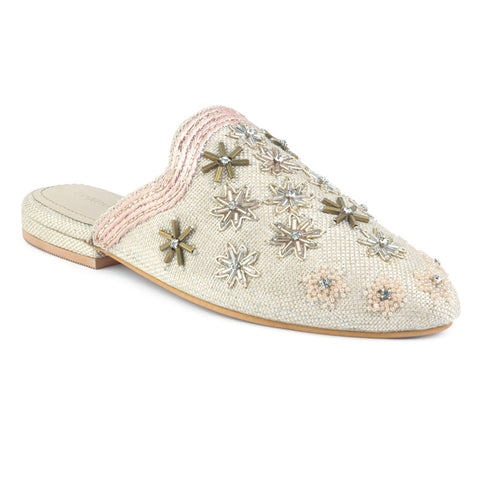 Beige Butta Embroidered Mules