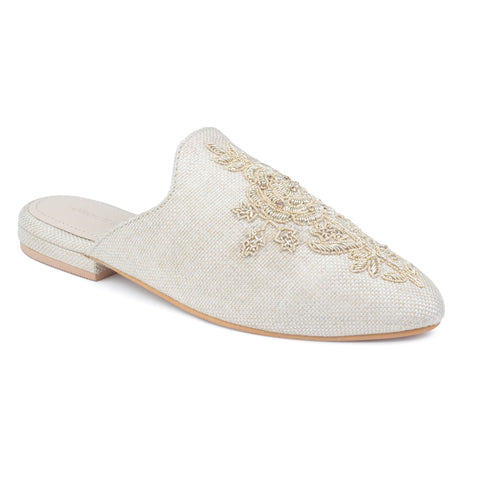 Beige Embroidered Patch Mules