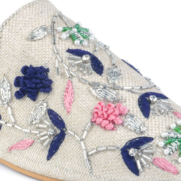 Beige Floral Embroidered Mules