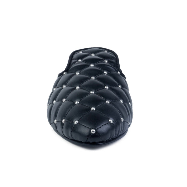 Studded and Quilted Black Mule