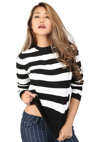 Black and White Fine Knit Striped Sweater - London Rag India
