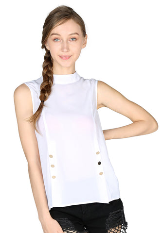 White High Neck Casual Top - London Rag India