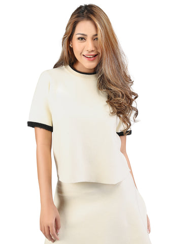 Knit Top With Contrast Collar and Sleeve - London Rag India
