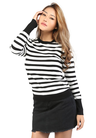 Black and White Light Weight Pullover Sweater - London Rag India