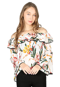 White Floral Print Off Shoulder Flared Sleeve Top - London Rag India