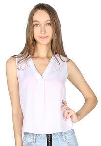 White Sleeveless V Neck Casual Top - London Rag India