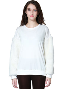 White Long Sleeve Fur Sweater - London Rag India
