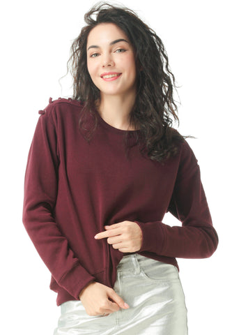 Wine Sweatshirt with shoulder lace loop