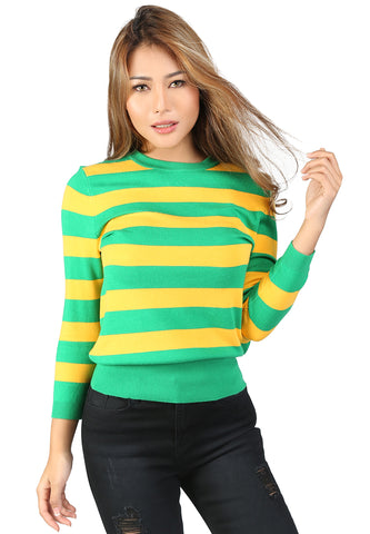Green Fine Knit Striped Sweater - London Rag India