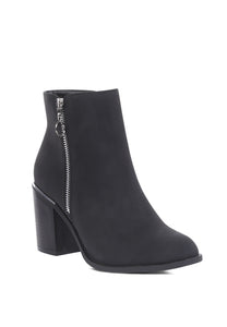 Black Side Zipper Pointed Toe Boot - London Rag India