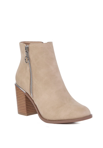 Beige Side Zipper Pointed Toe Boot - London Rag India