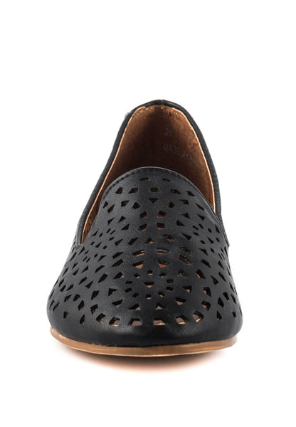 Black Laser Cut Loafers - London Rag India