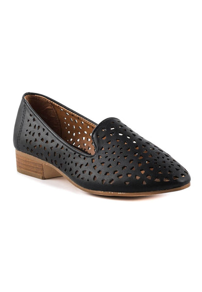 Womens Black Laser Cut Loafers - London Rag India