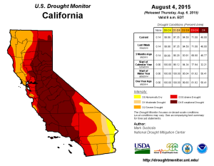 California Drought Monitor Aug 4, 2015