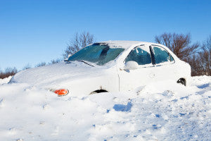 Car Stuck in Snow off a Road Winter Survival