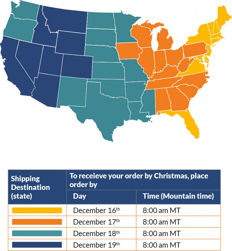Christmas Guaranteed Shipping Chart