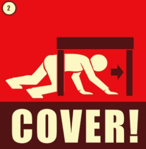Earthquake safety tip: cover