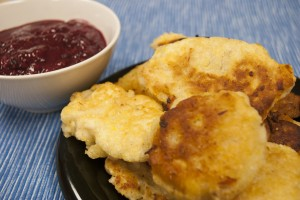 Southern food: Chicken Hushpuppies with Blackberry Mustard