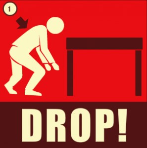 Earthquake safety tip: drop
