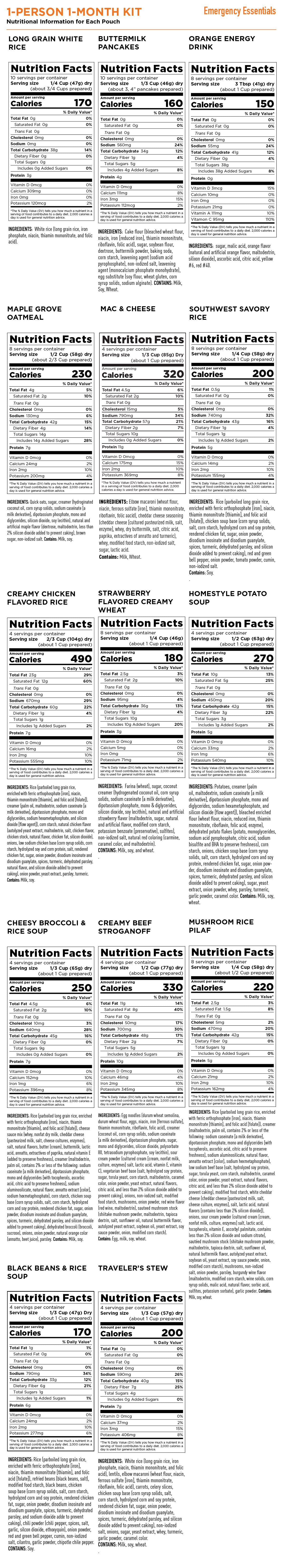 Emergency Essentials Nutrition Info