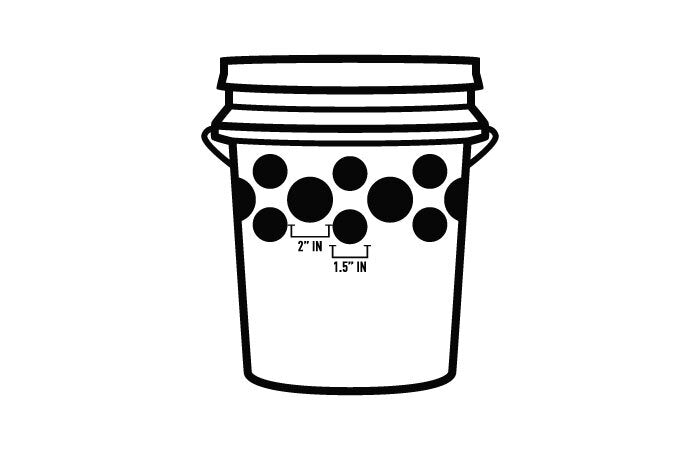 bucket with large and small holes