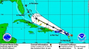 Tropical storm Erika - Path