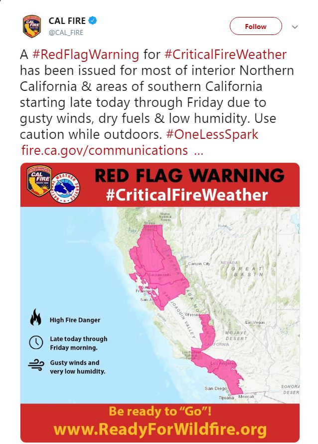 Cal Fire Red Flag Warning Twitter