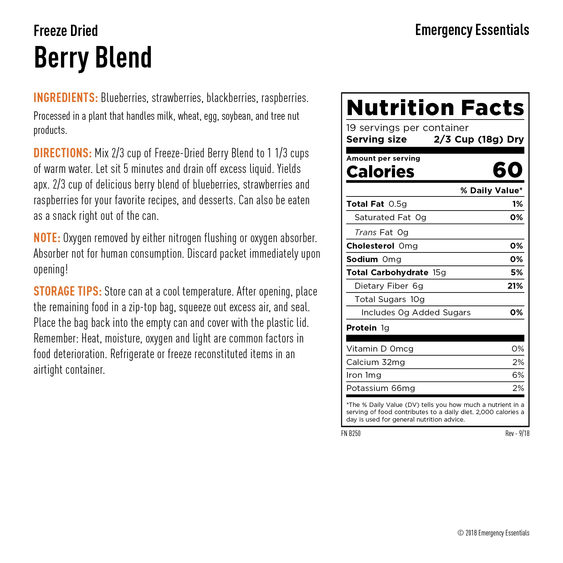 berry blend nutrition info, ingredients, and preparation directions