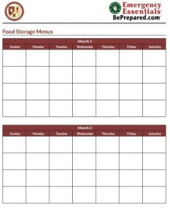 Food Storage Menu