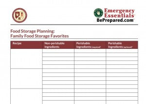 Food Storage Menu Planner Download Image