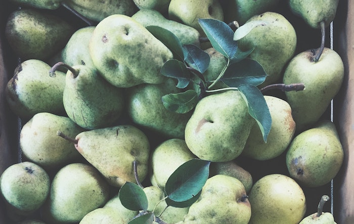 fresh pears in a crate