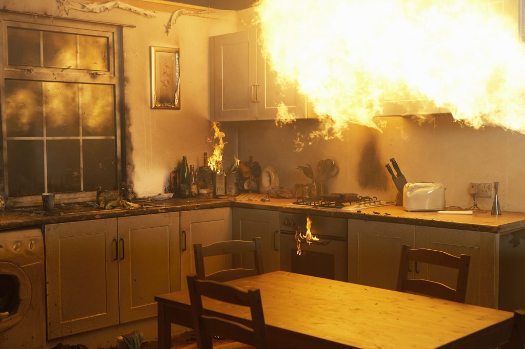 Fire consumes a kitchen