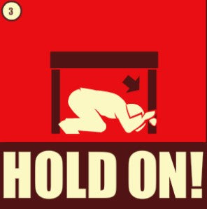 Earthquake safety tip: hold on