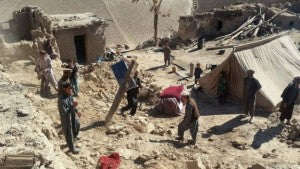 Homes Destroyed and Shelter - BBC - Afghanistan Earthquake