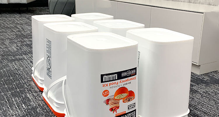 food buckets lined up upside down