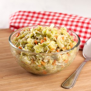 This delicious cabbage coleslaw is great alone or as part of a meal using food storage ingredients!