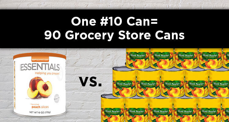 one #10 can of peaches equals 90 grocery store peaches