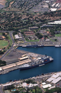 Aerial photograph of Naval Station Pearl Harbor Oahu Hawaii nomad