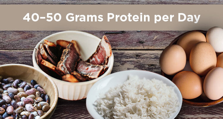 eggs, rice, beans, 40 grams protein per day