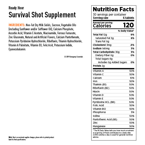 Survival Shot Nutritional Panel
