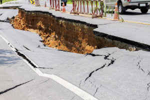 Cracked road after earthquake at Chiang Rai Province, Thailand