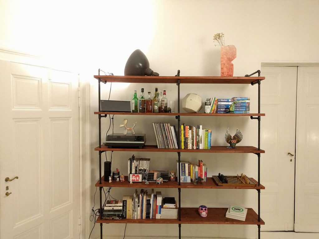Shelving with heavy objects that could fall during an earthquake