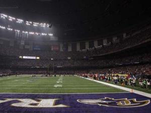 Power goes out in the third quarter of Super Bowl XLVII  between the San Francisco 49ers and Baltimore Raven on Sunday, Feb. 3, 2013, at the Superdome in New Orleans. (Jim Gensheimer/Bay Area News Group)