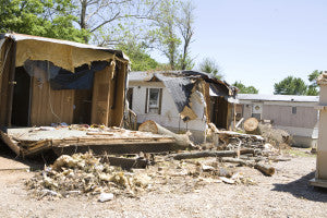 This trailer park suffered devistation after a tornado.