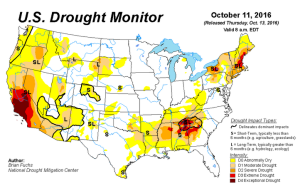 us-drought-monitor-as-of-october-11-2016 Lingering Drought