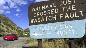 Wasatch Fault Sign - Drop cover and hold on