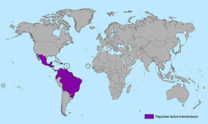 Zika Virus Reported Active Transmission - via Center for Disease Control (CDC)
