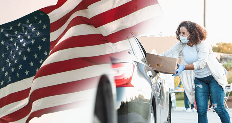American flag and woman giving service wearing a facemask