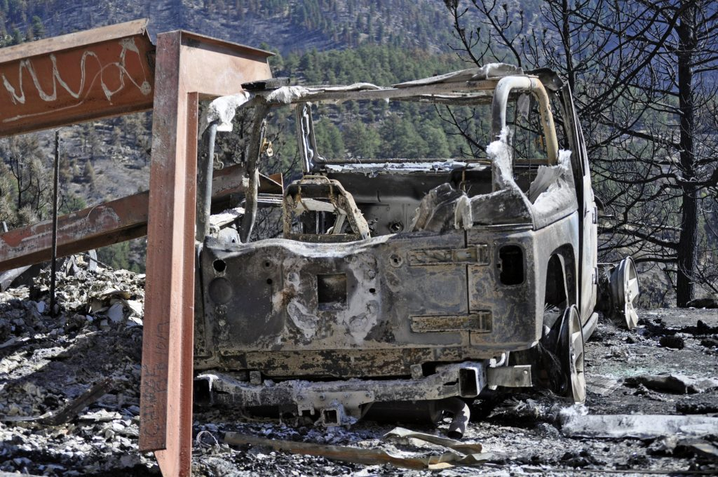 Burned out car in mountains