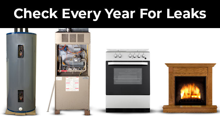 check your furnace, water heater, stove, and fireplace every year